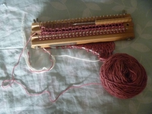 currently on knitting board