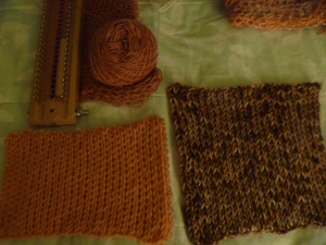 three pieces of loom knitting