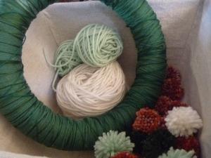 wreath and pom poms