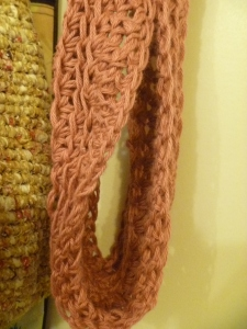 pink cowl up close