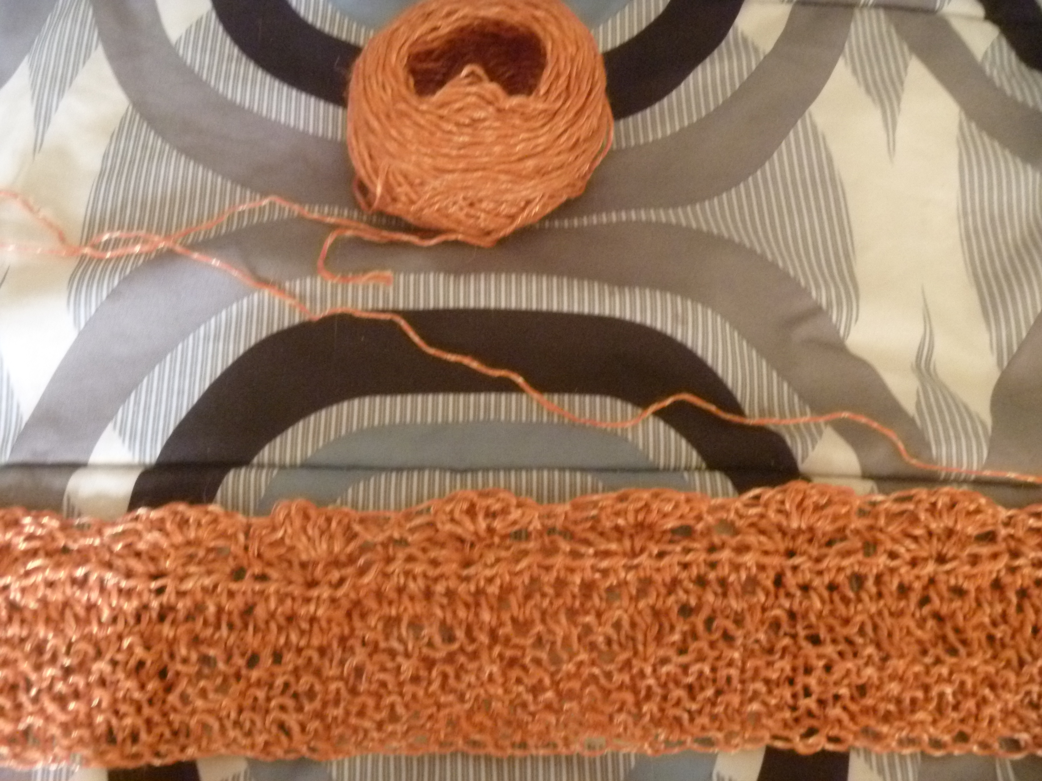 orange knit to crochet scarf or something
