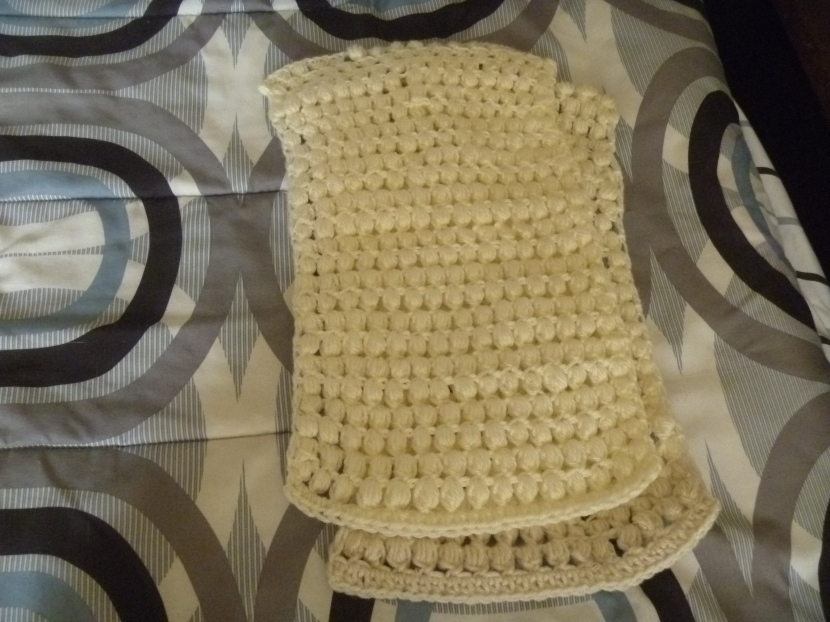 white bobble scarf