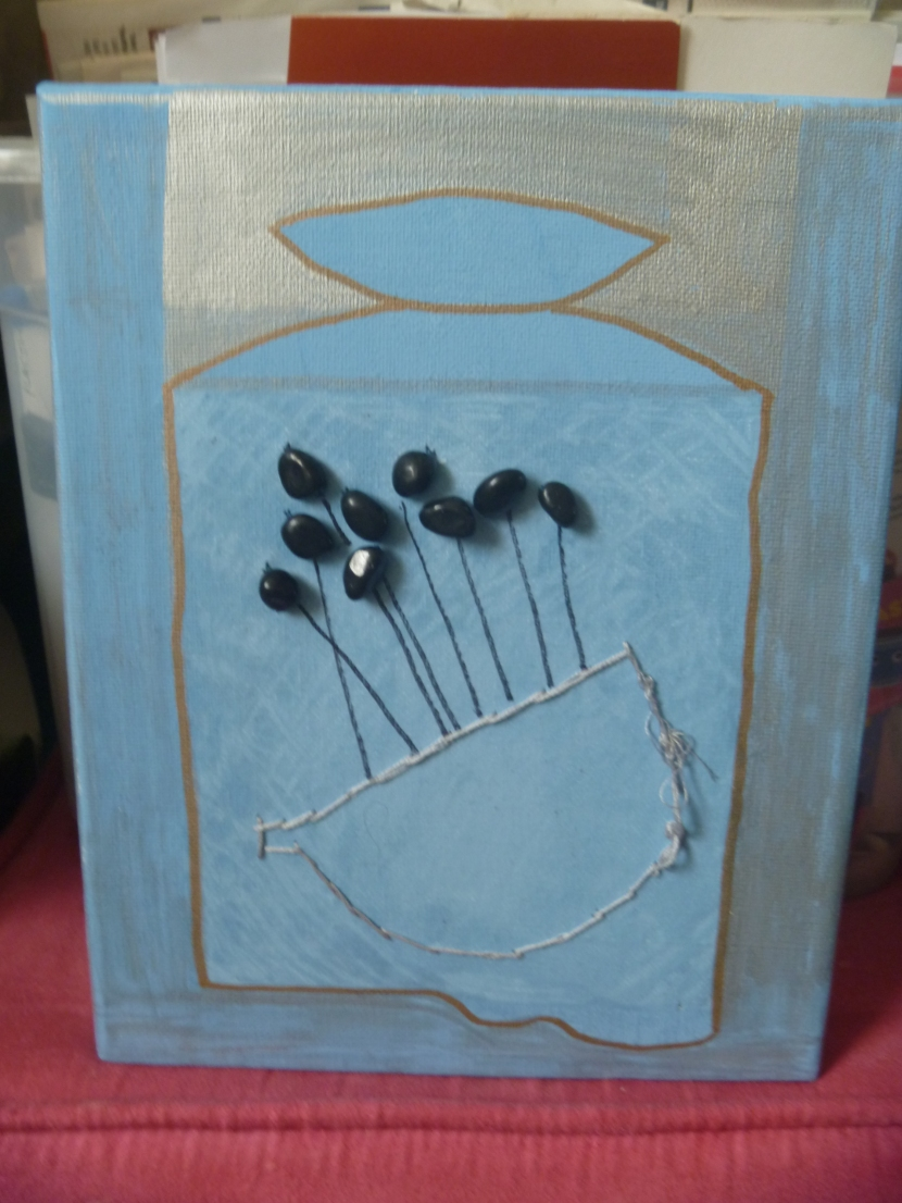 blue painting with beads and stuff