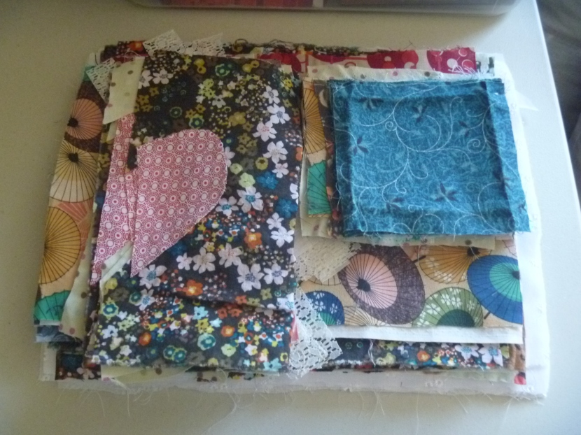 fabric pieces in a pile