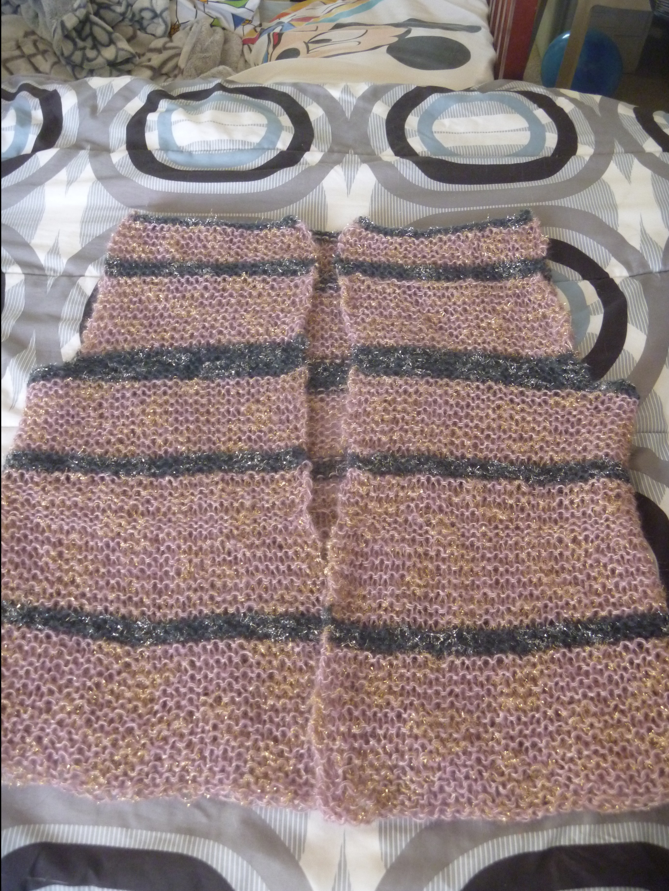 body of the striped cardigan from the front