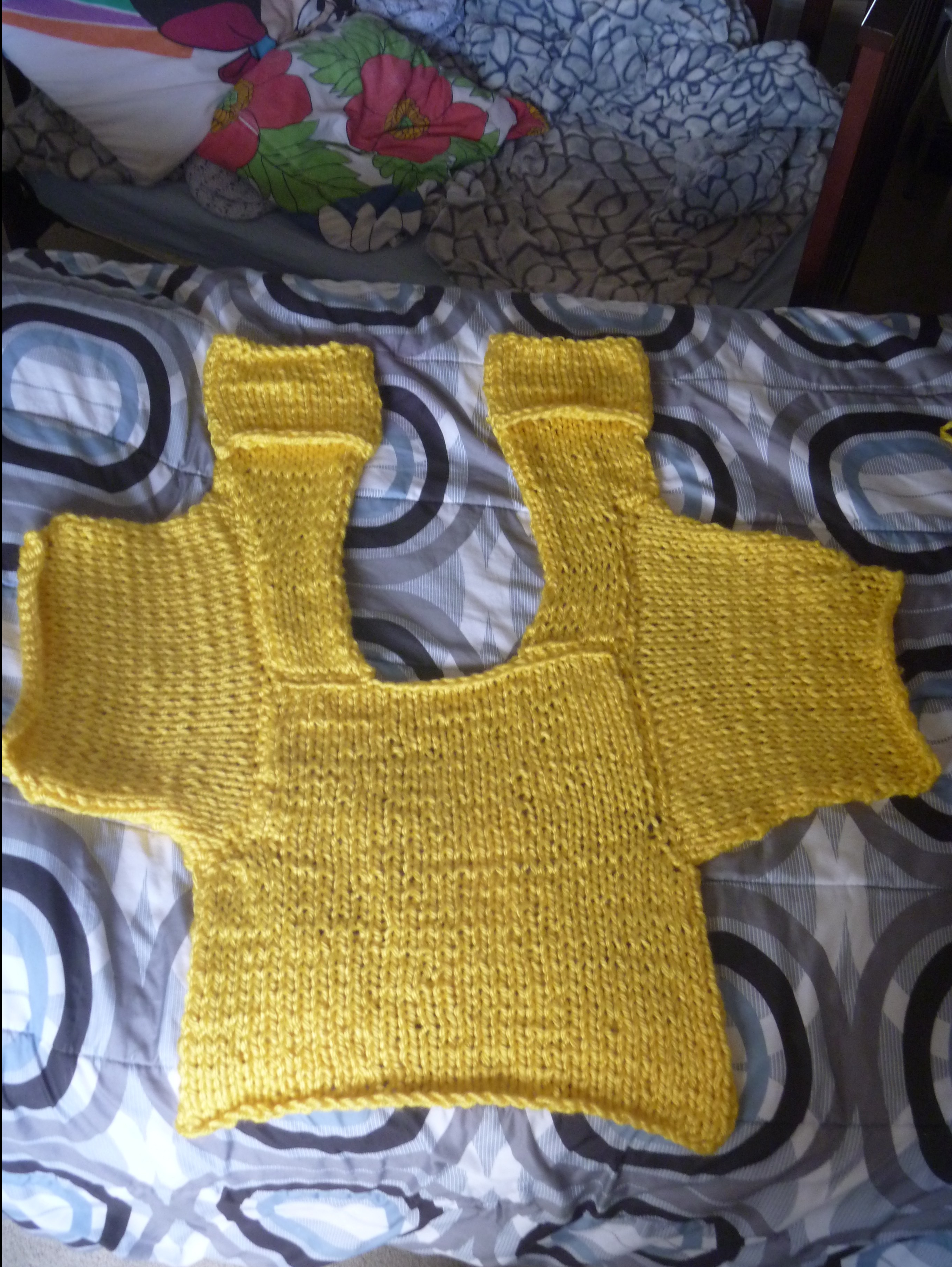 the yellow cardigan, without sides seamed