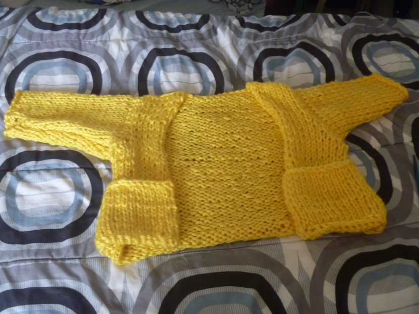 yellow cropped cardigan (before collar)