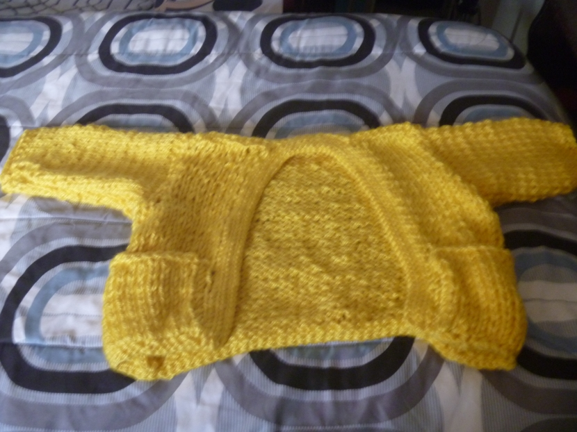 yellow cropped cardigan (after collar)