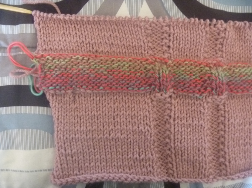 progress on knitted striped top