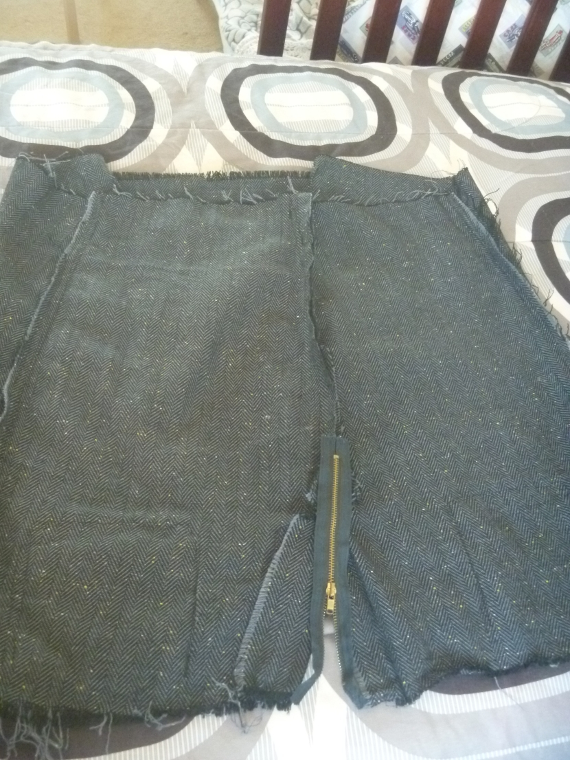 skirt with zipper being attached