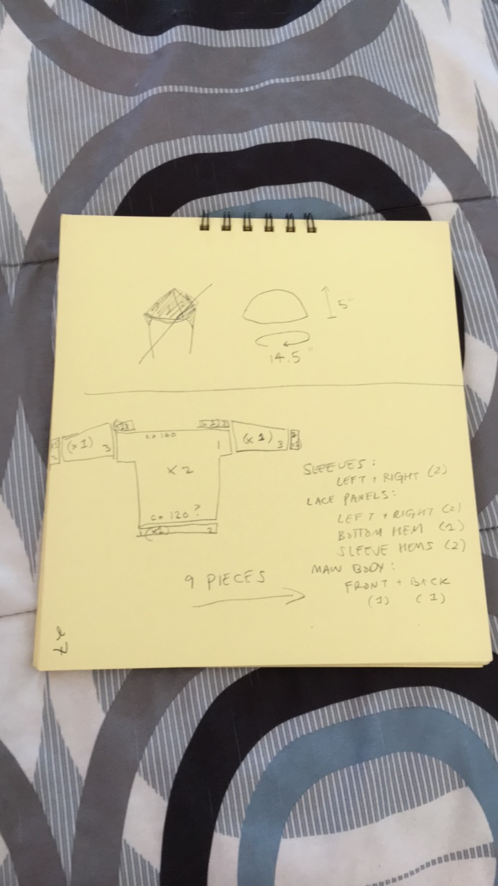 sketch of pullover (and baby hat measurements)