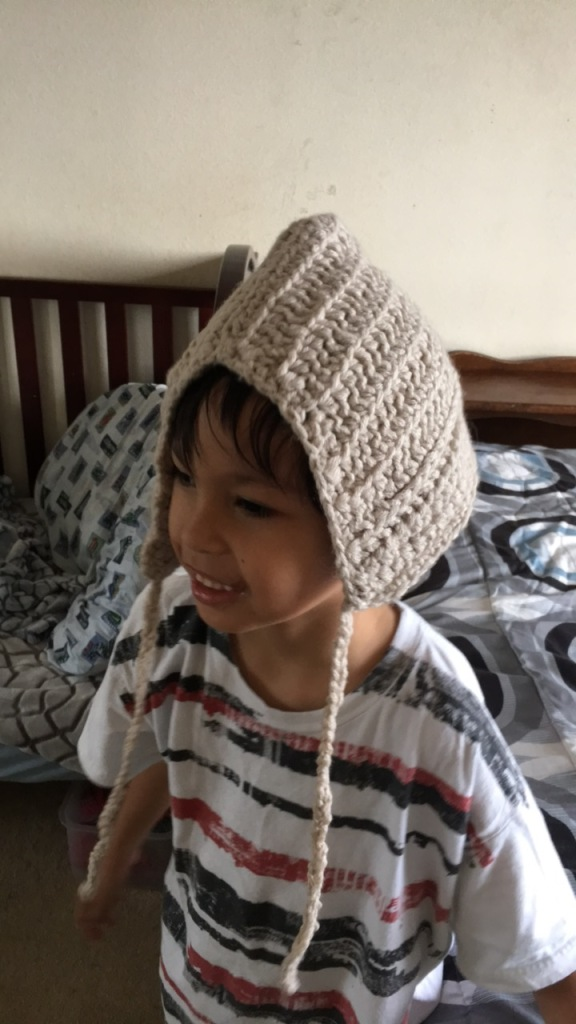 crochet hat on Dylan