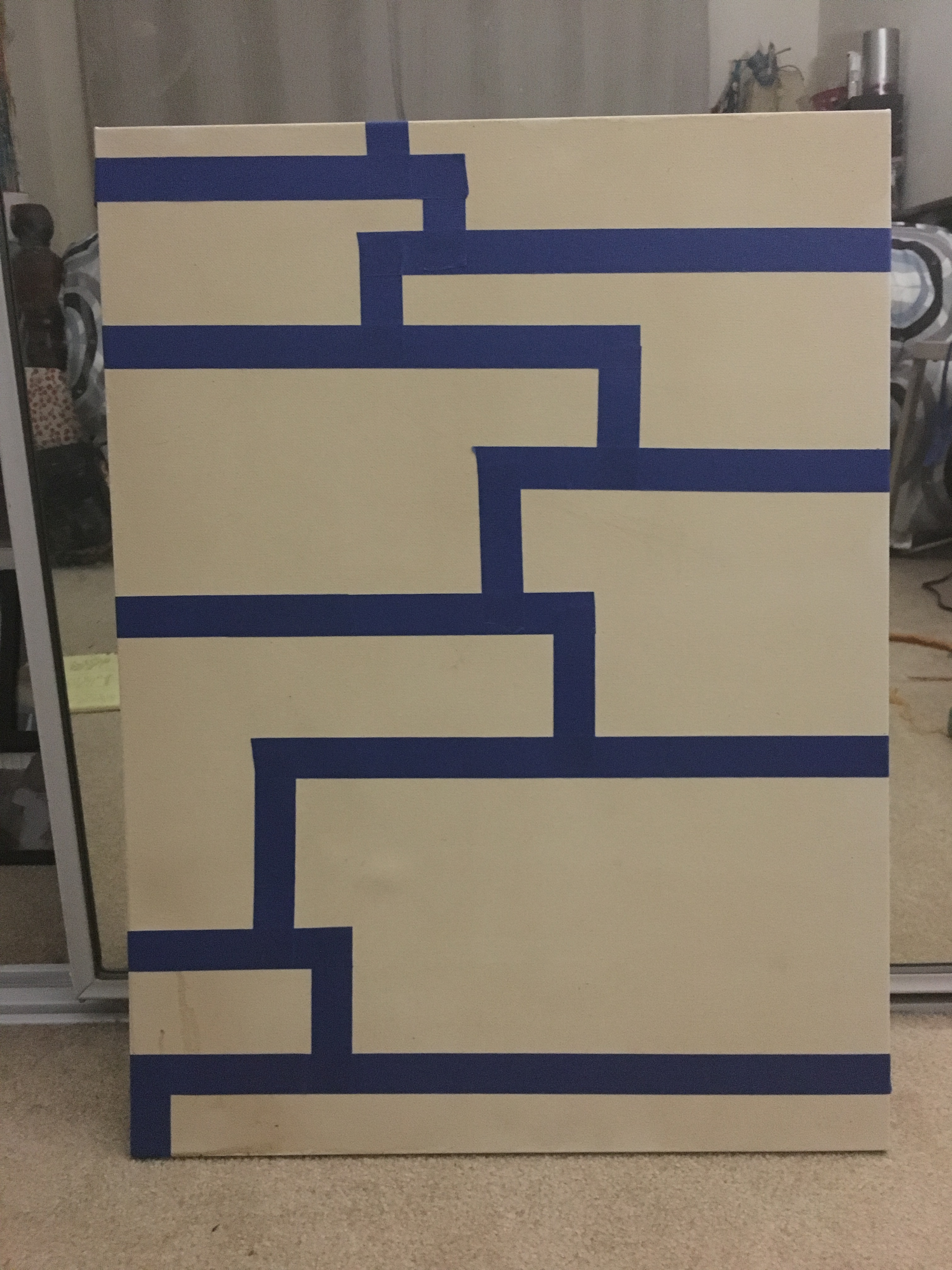 taped out sections for painting to be