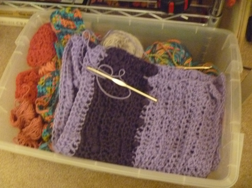 blurry picture of striped purple bobble shawl