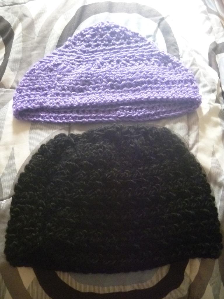 purple and black beanies