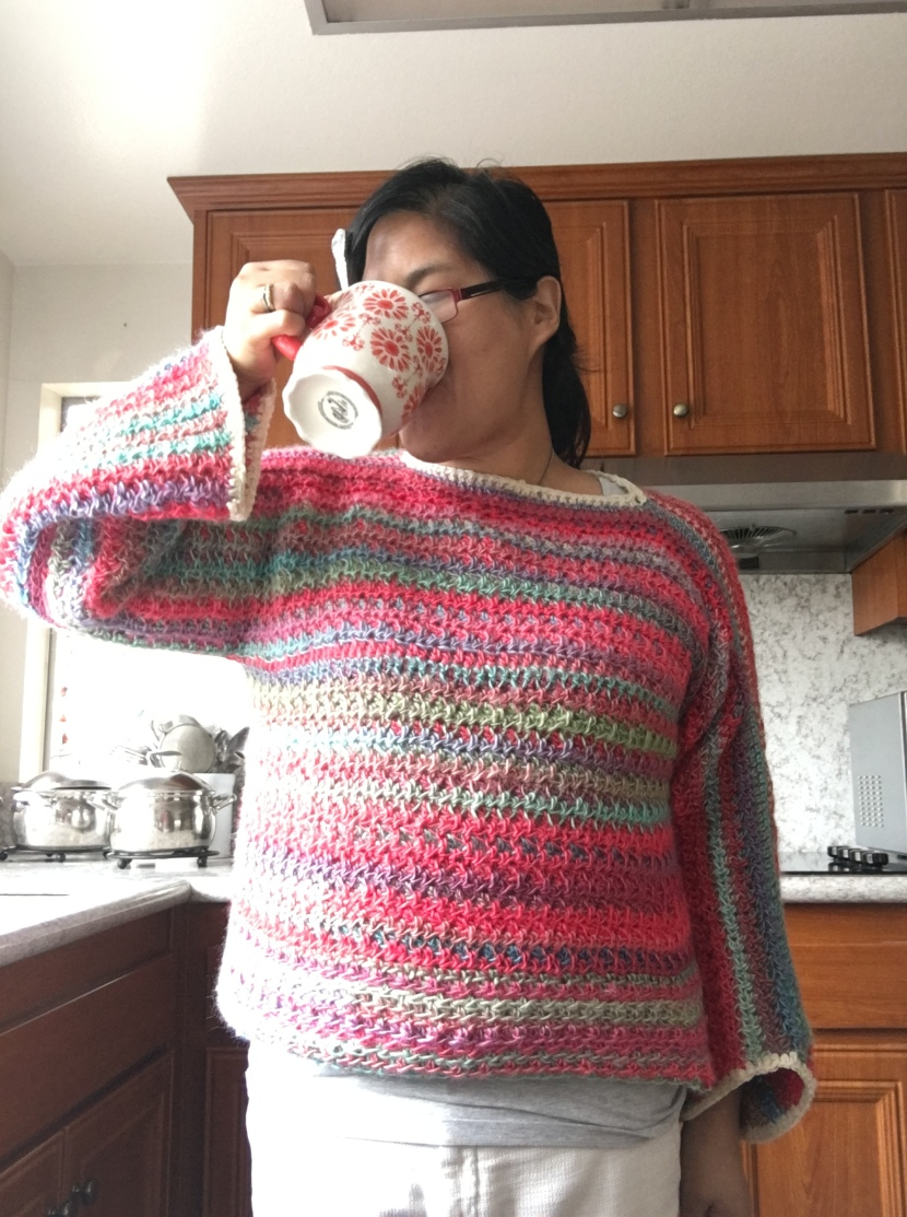 me wearing the parrot yarn pullover