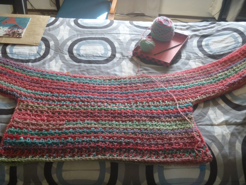 progress on pullover using Red Heart yarn