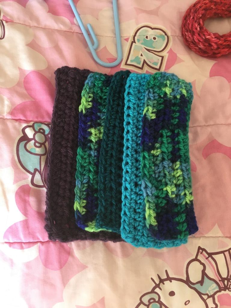 various coloured crochet blocks
