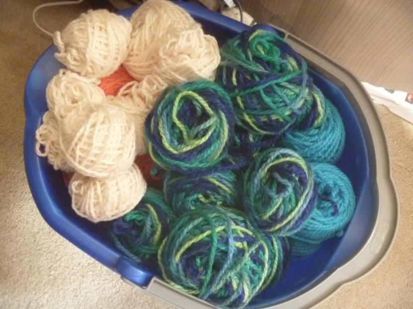 several yarns , frogged and fixed