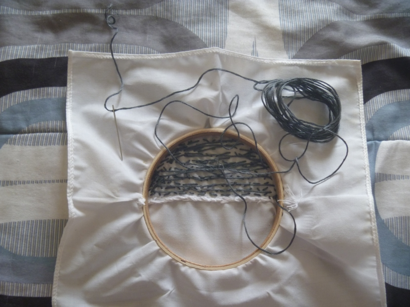 messy back of embroidery project