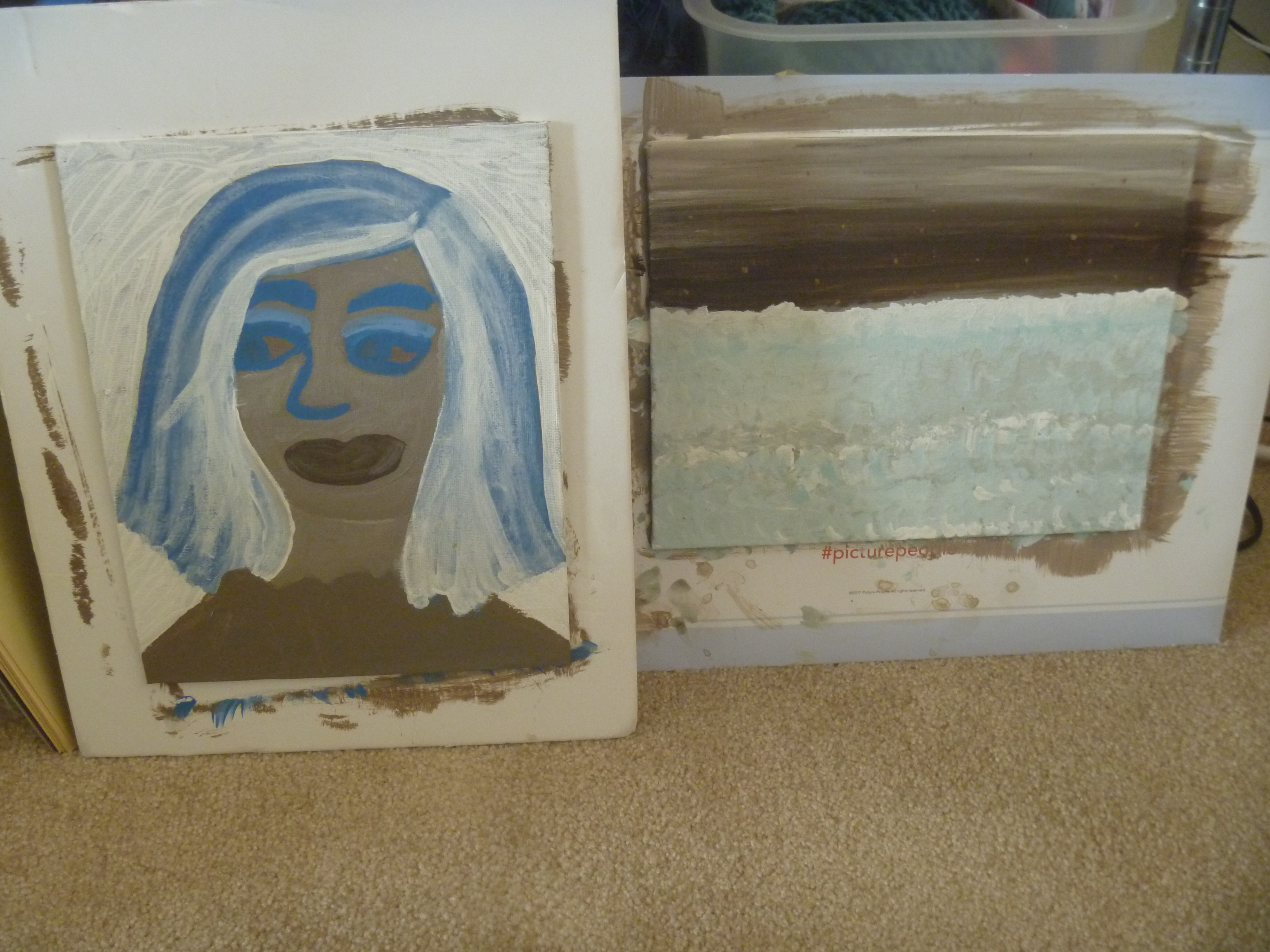 paintings- altered portrait and beach waves