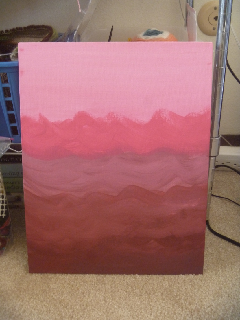layered waves with pink and red paint mixed with white