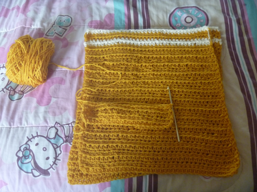 progress on Dylan's yellow and white striped sweater