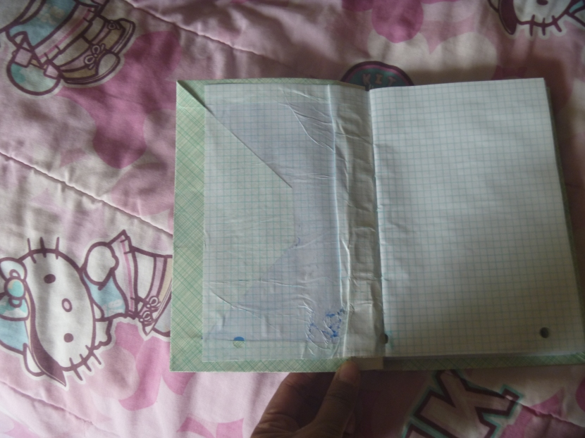 open notebook with the first flap showing