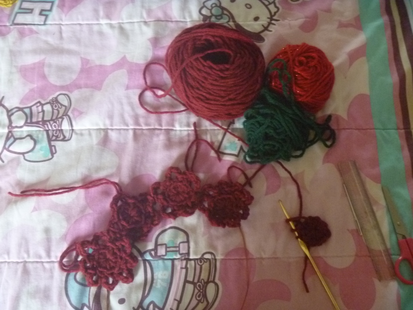 crochet flowers and wire, start of a crown