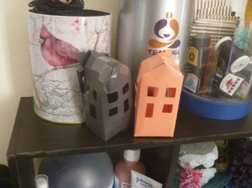 orange and black construction paper houses
