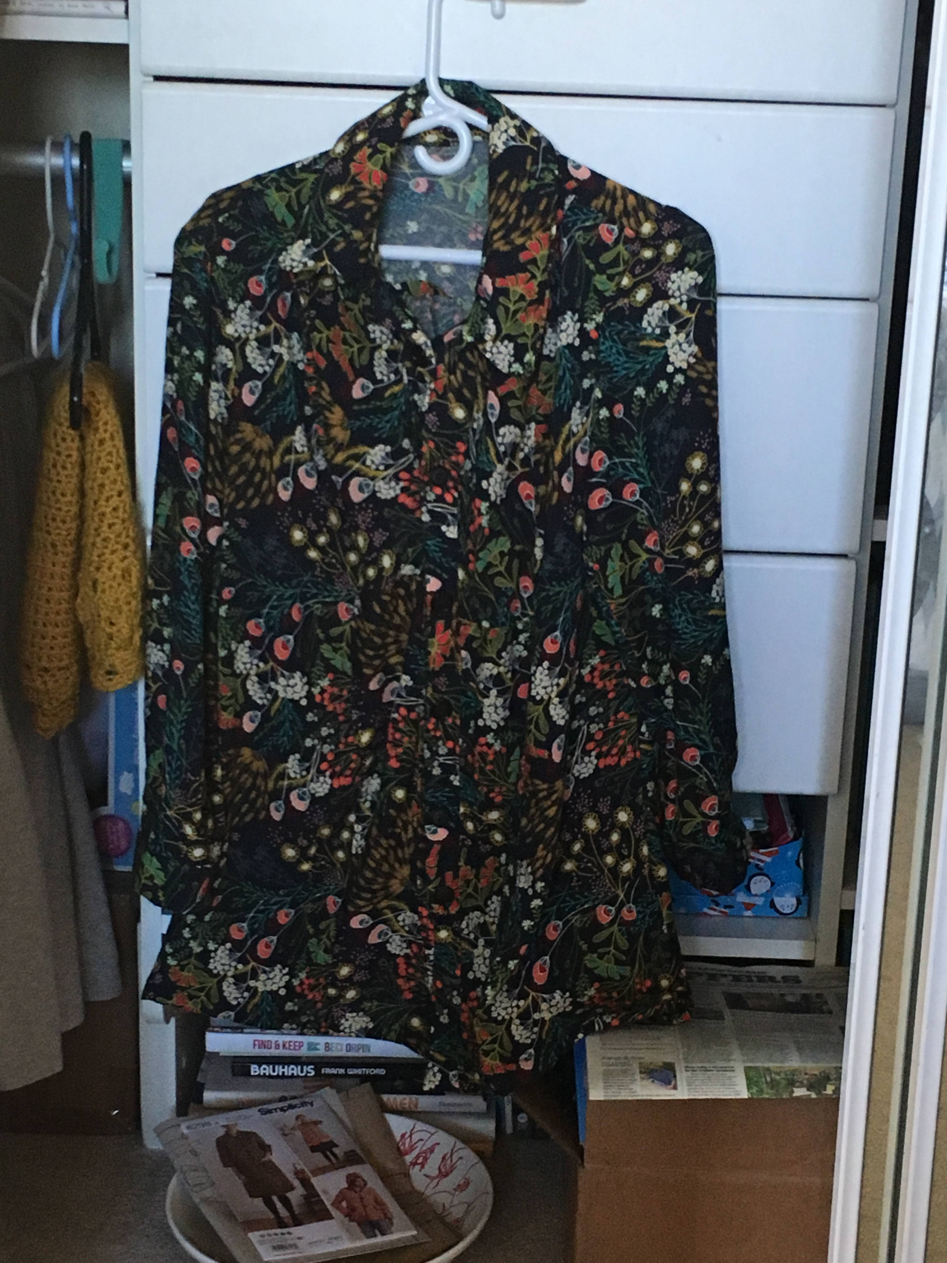 the finished tunic in art gallery fabrics