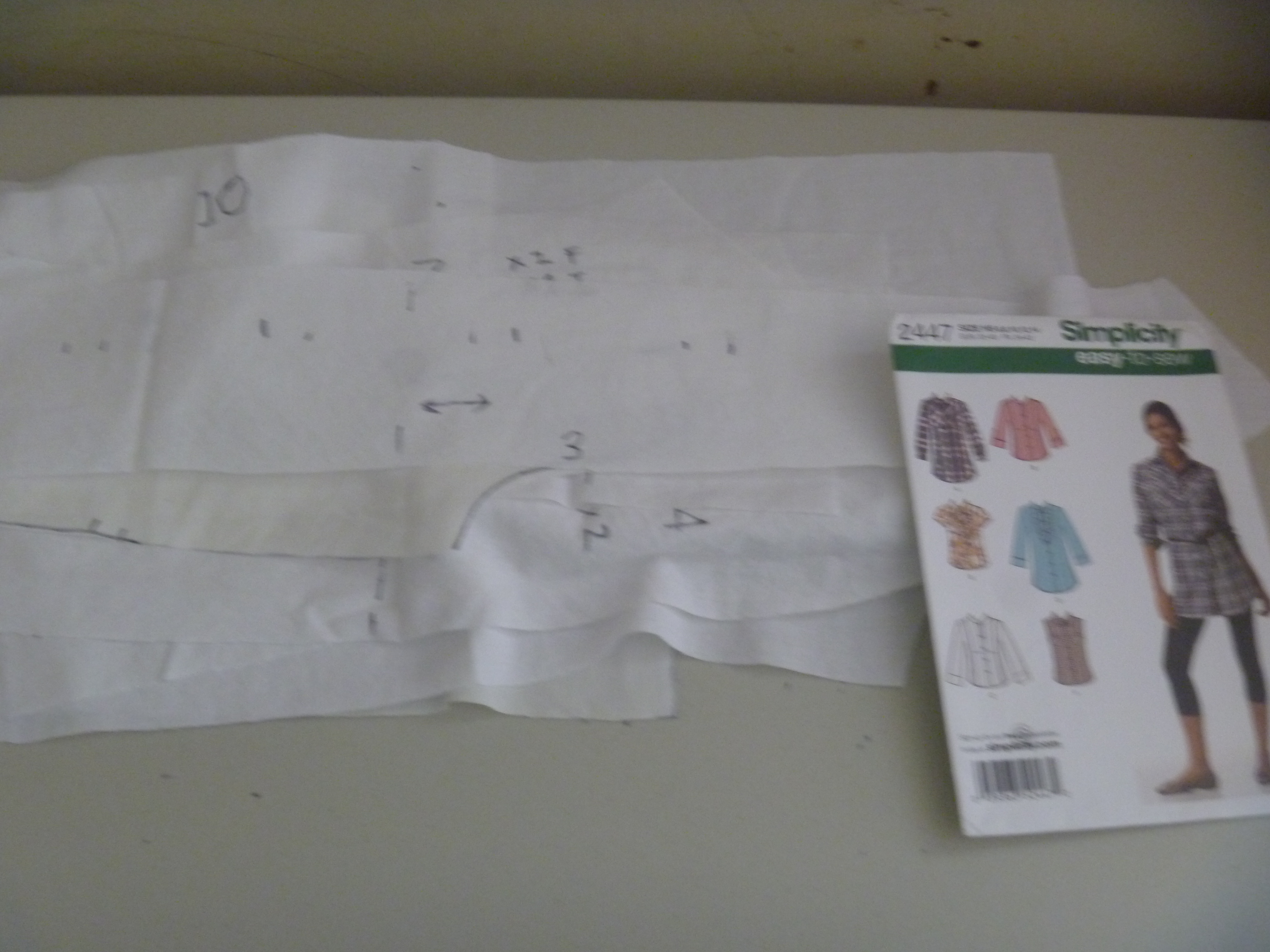 muslin pattern pieces, to be adjusted
