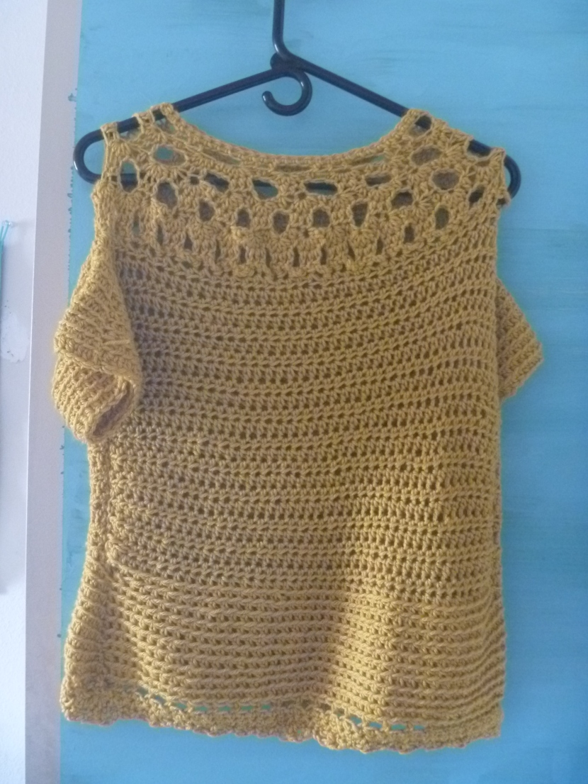 finished crochet top using knitpicks yarn