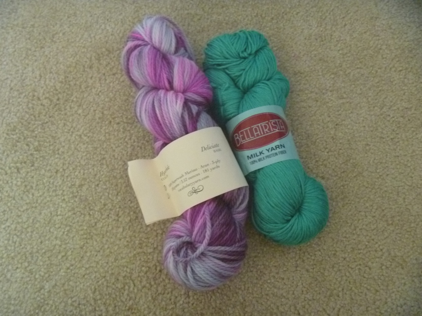 two yarn skeins