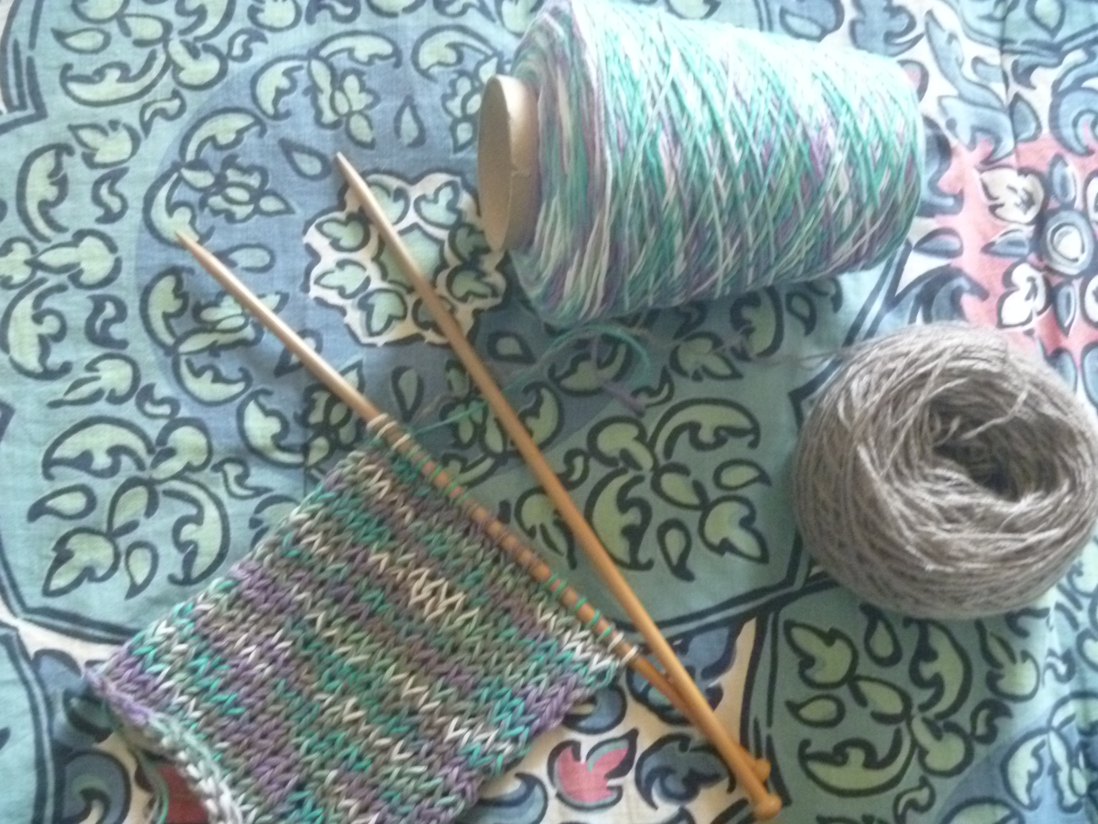 knitted grey and multi-colour scarf