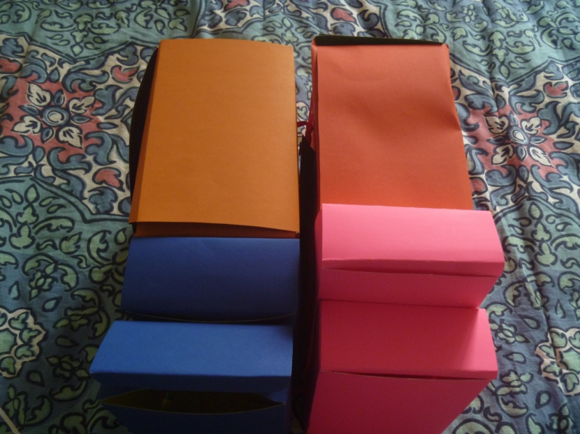 various boxes made from posterboard