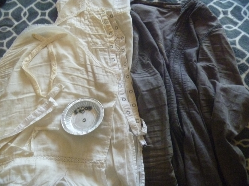 two H&M tops (white and grey) to become pattern pieces