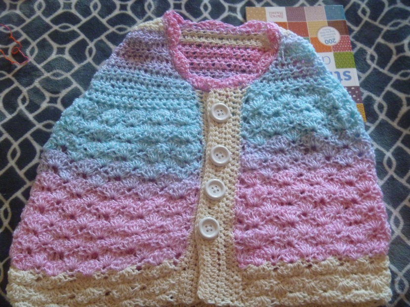 buttoned stripey crochet cape