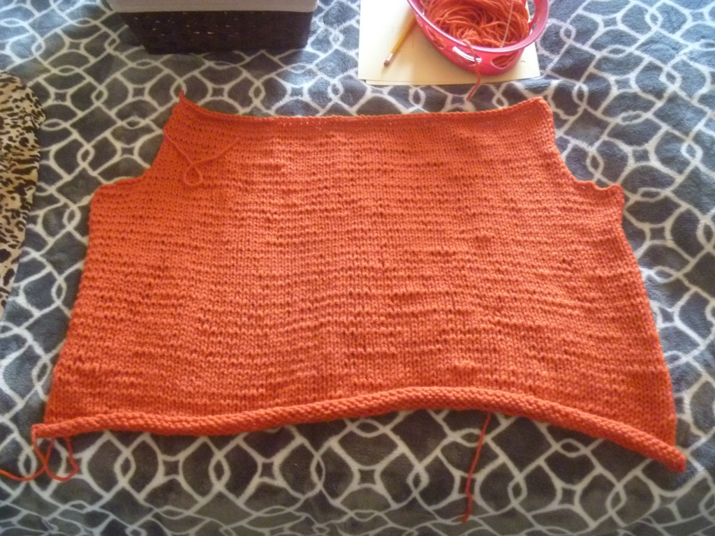 stockinette stitch orange vest back