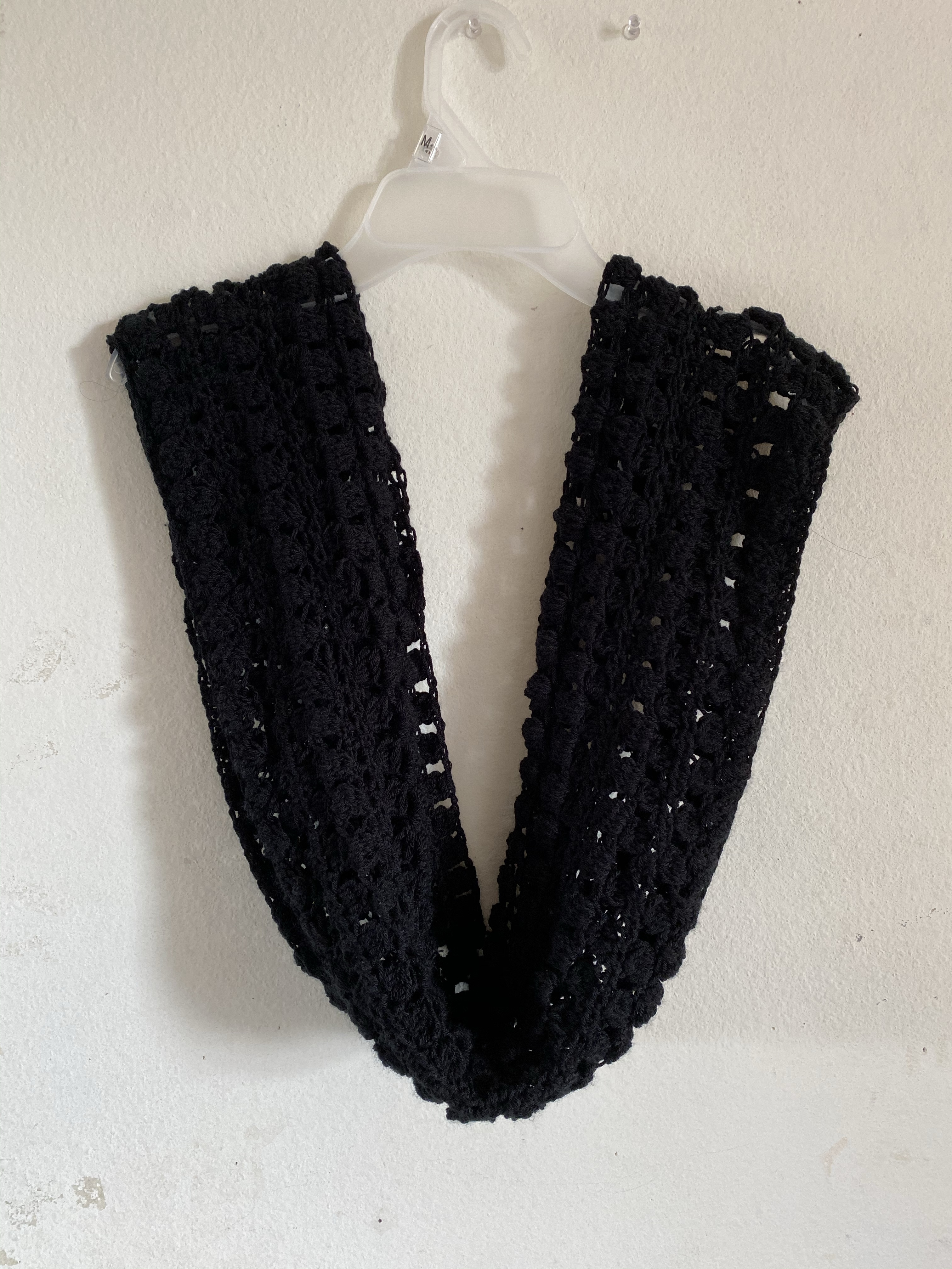 Black crochet infinity scarf