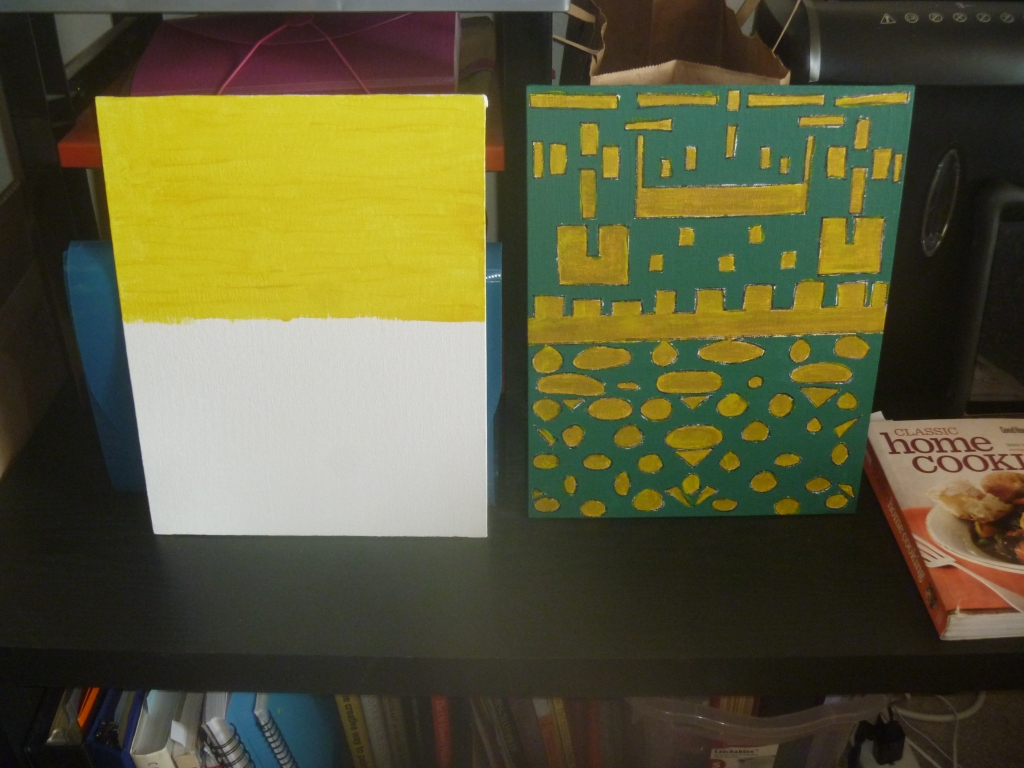 two canvasboard: left has yellow in the top half, the second one has green and yellow shapes, the yellow is over gold marker which came out brownish