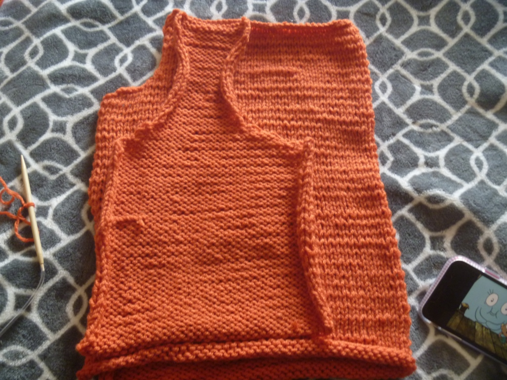 finished orange front panel and back for vest or cardigan