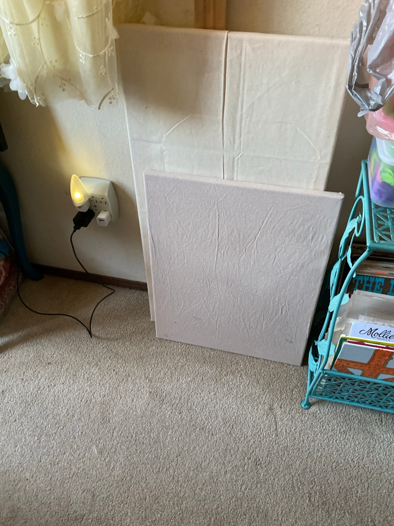 two stretched canvas