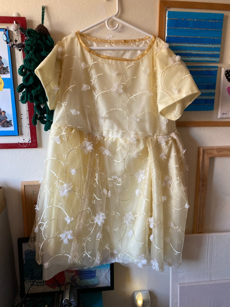 Unhemmed lace dress