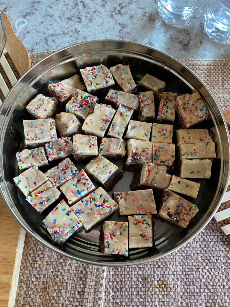 Fudge cut into bite size pieces