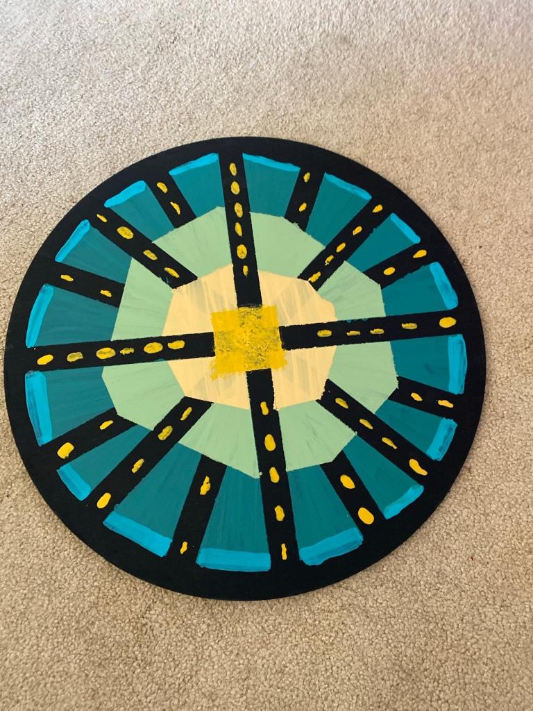 """Painted 17"""" wood circle"""