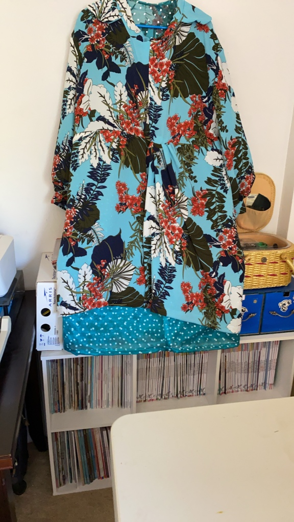 Floral dress with lining still attached