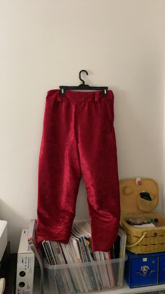 Matching velvet pants